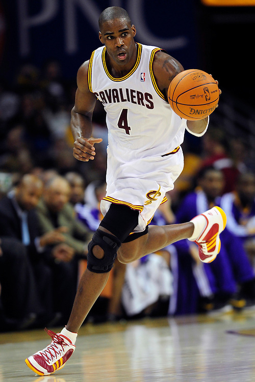 Feb. 16, 2011; Cleveland, OH, USA; Cleveland Cavaliers power forward Antawn Jamison (4) drives down court during the second quarter against the Los Angeles Lakers at Quicken Loans Arena. Mandatory Credit: Jason Miller-US PRESSWIRE