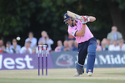 Ollie Rayner batting during the NatWest T20 Blast South Group match between Middlesex County Cricket Club and Somerset County Cricket Club at Uxbridge Cricket Ground, Uxbridge, United Kingdom on 26 June 2015. Photo by David Vokes.