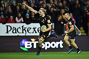 Jonny Hill of Exeter Chiefs raises his finger to celebrate as he runs in for his second try which made the score after a converted kick 28-17 during the Aviva Premiership match between Exeter Chiefs and Harlequins at Sandy Park, Exeter, United Kingdom on 19 November 2017. Photo by Graham Hunt.