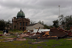 24 Sept, 2005.  Orange, Texas. Hurricane Rita aftermath. <br /> <br /> The old church in Orange Texas, spared by Rita.<br /> Photo; ©Charlie Varley/varleypix.com