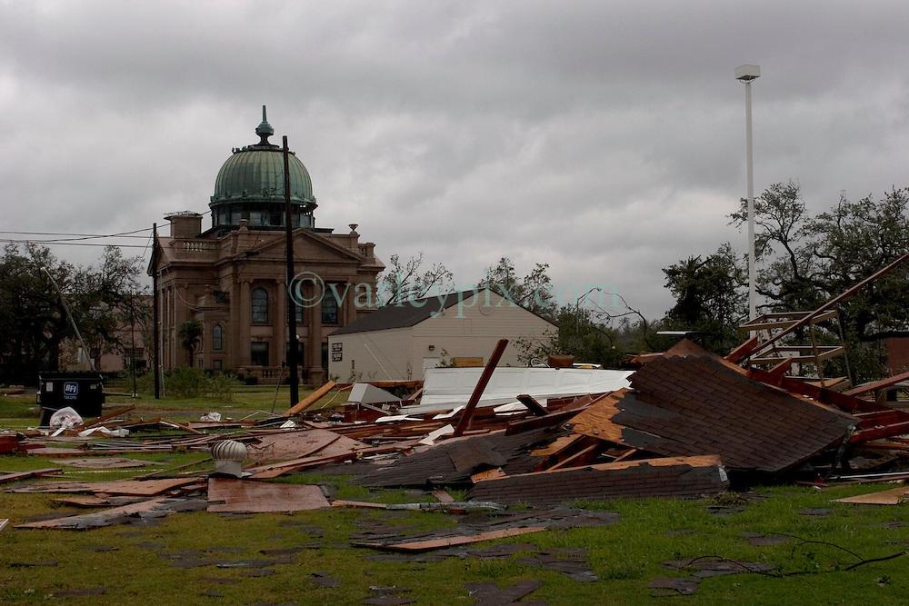 24 Sept, 2005.  Orange, Texas. Hurricane Rita aftermath. <br /> <br /> The old church in Orange Texas, spared by Rita.<br /> Photo; ©Charlie Varley/varleypix.com