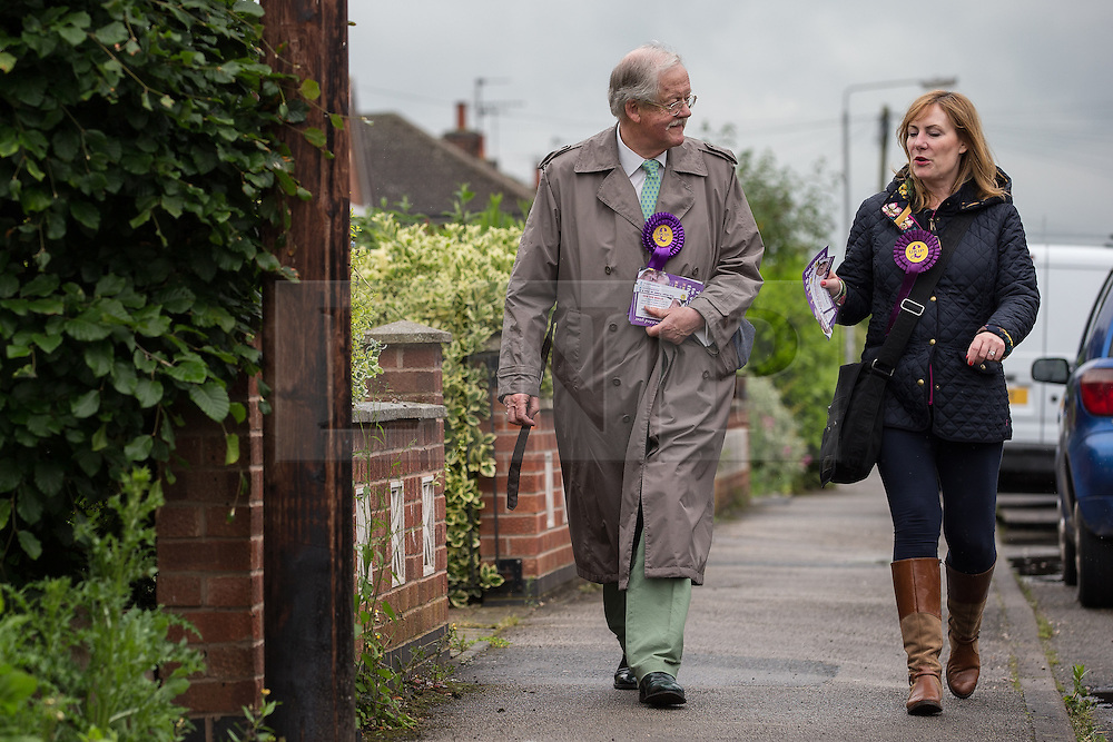 © Licensed to London News Pictures . 04/06/2014 . Bingham , Nottinghamshire , UK . UKIP candidate Roger Helmer and UKIP MEP Janice Atkinson out knocking doors in Bingham today (Wednesday 4th June 2014) ahead of the Newark by-election tomorrow (Thursday 5th June 2014) . Photo credit : Joel Goodman/LNP