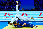 Warsaw, Poland - 2017 April 20: Adrian Gomboc from Slovenia (blue) throws Nijat Shikhalizada from Azerbaijan (white) while the men&rsquo;s 66kg semifinal during European Judo Championships 2017 at Torwar Hall on April 20, 2017 in Warsaw, Poland.<br /> <br /> Mandatory credit:<br /> Photo by &copy; Adam Nurkiewicz / Mediasport<br /> <br /> Adam Nurkiewicz declares that he has no rights to the image of people at the photographs of his authorship.<br /> <br /> Picture also available in RAW (NEF) or TIFF format on special request.<br /> <br /> Any editorial, commercial or promotional use requires written permission from the author of image.