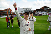 Tom Abell, captain of Somerset gives a thumbs up to the fans while on a lap of honour after beating Middlesex to secure survival in Division 1 of the Specsavers County Champ Div 1 match between Somerset County Cricket Club and Middlesex County Cricket Club at the Cooper Associates County Ground, Taunton, United Kingdom on 28 September 2017. Photo by Graham Hunt.
