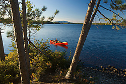 A man paddles his canoe on Seboeis Lake near Millinocket, Maine. (MR)
