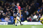 Dru Yearwood of Southend United shot on goal is blocked during the EFL Sky Bet League 1 match between Southend United and Oxford United at Roots Hall, Southend, England on 6 October 2018.