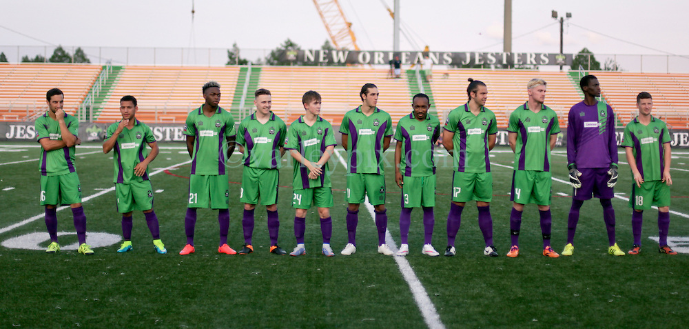 10 May 2016. New Orleans, Louisiana.<br /> NPSL Soccer, Pan American Stadium.<br /> The New Orleans Jesters prepare for their home game against the Shreveport Rafters FC before kick off of the first leg of the Louisiana Cup. Jesters win 2-0. <br /> Photo; Charlie Varley/varleypix.com