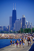 Image of Lake Michigan near Lincoln Park during a heat wave, Chicago, Illinois, American Midwest