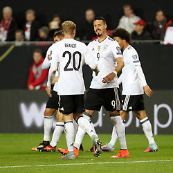 KAISERSLAUTERN, Oct. 9, 2017  Sandro Wagner (2nd R) of Germany celebrates after scoring during the FIFA 2018 World Cup Qualifiers Group C match between Germany and Azerbaijan at Fritz Walter Stadium in Kaiserslautern, GermanyC on Oct. 8, 2017. Germany won 5-1. (Credit Image: © Ulrich Hufnagel/Xinhua via ZUMA Wire)