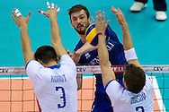 (C) Julien Lyneel from France attacks during the 2013 CEV VELUX Volleyball European Championship match between France and Slovakia at Ergo Arena in Gdansk on September 20, 2013.<br /> <br /> Poland, Gdansk, September 20, 2013<br /> <br /> Picture also available in RAW (NEF) or TIFF format on special request.<br /> <br /> For editorial use only. Any commercial or promotional use requires permission.<br /> <br /> Mandatory credit:<br /> Photo by © Adam Nurkiewicz / Mediasport