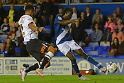 Clayton Donaldson has a shot during the Sky Bet Championship match between Birmingham City and Derby County at St Andrews, Birmingham, England on 21 August 2015. Photo by Alan Franklin.