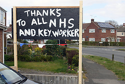 Thanks to all NHS and key worker sign outside house during Coronavirus pandemic, Tilehurst, Reading UK March 2020