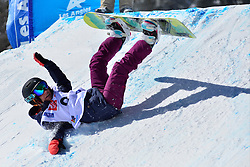 Snowboarder Cross Action, PEDROSA Celeste, ARG at the 2016 IPC Snowboard Europa Cup Finals and World Cup