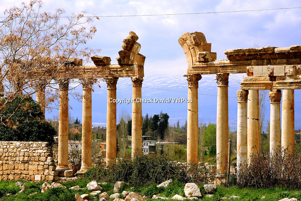 Ancient ruins of columns and arches, dating to the Roman era in Baalbek, Lebanon.