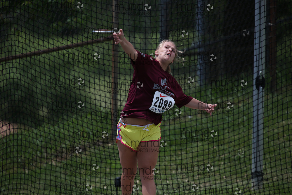 Jamie Simpson of Stratford NW SS - Stratford competes in the junior girls discus at the 2013 OFSAA Track and Field Championship in Oshawa Ontario, Thursday,  June 6, 2013.<br /> Mundo Sport Images / Sean Burges