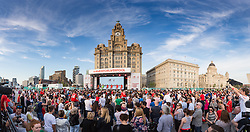 LIVERPOOL, ENGLAND - Monday, May 9, 2016: Supporters at the launch of the New Balance 2016/17 Liverpool FC kit at the Royal Liver Building on Liverpool's historic World Heritage waterfront. (Pic by David Rawcliffe/Propaganda)