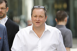 © Licensed to London News Pictures. 04/07/2017. London, UK. Newcastle United FC owner Mike Ashley arrives at the High Court. Mr Ashley is in dispute with financial expert Jeff Blue over payments promised in relation to the share price of Sports Direct. Photo credit: Peter Macdiarmid/LNP