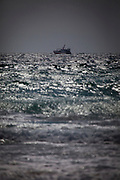 Fishing trawler, Teresa Mae, seen from Coumeenoole Beach, Slea Head, Dingle Peninsula, Kerry, Ireland