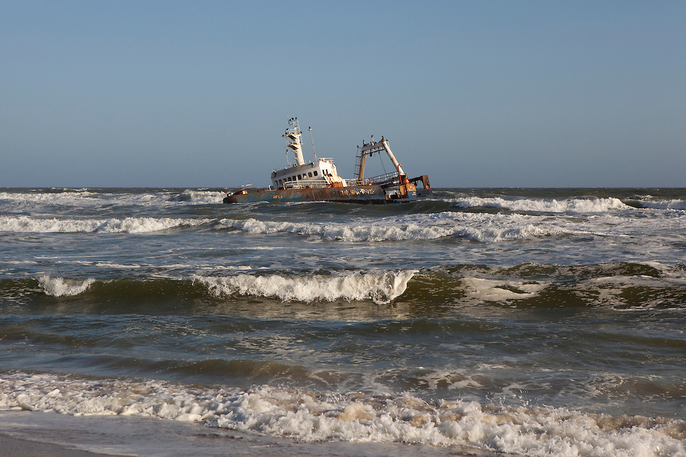 Japanese boat wrecked at the Skeleton Coast in Namibia.