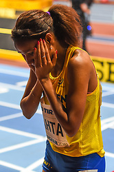 March 2, 2018 - Birmingham, England, United Kingdom - Meraf Bahta of Sweden at 1500 meter semi final at World indoor Athletics Championship 2018, Birmingham, England on March 2, 2018. (Credit Image: © Ulrik Pedersen/NurPhoto via ZUMA Press)
