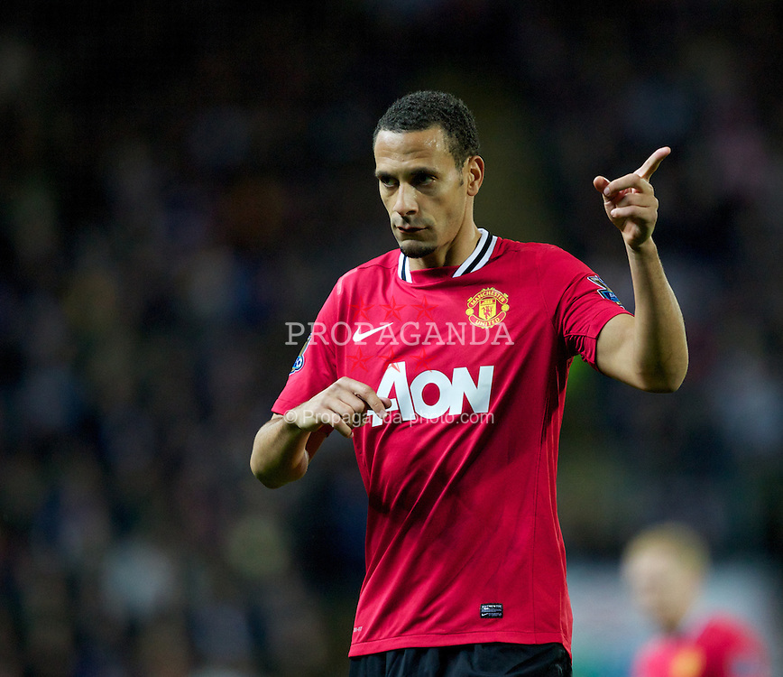 BLACKBURN, ENGLAND - Monday, April 2, 2012: Manchester United's Rio Ferdinand in action against Blackburn Rovers during the Premiership match at Ewood Park. (Pic by Vegard Grott/Propaganda)