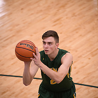 3rd year guard Samuel Hillis (2) of the Regina Cougars during the Men's Basketball home game on November 11 at Centre for Kinesiology, Health and Sport. Credit: Arthur Ward/Arthur Images