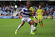 Queens Park Rangers defender Nedum Onuoha (5) holding off  Rotherham United forward Carlton Morris (10)  during the EFL Sky Bet Championship match between Queens Park Rangers and Rotherham United at the Loftus Road Stadium, London, England on 18 March 2017. Photo by Matthew Redman.