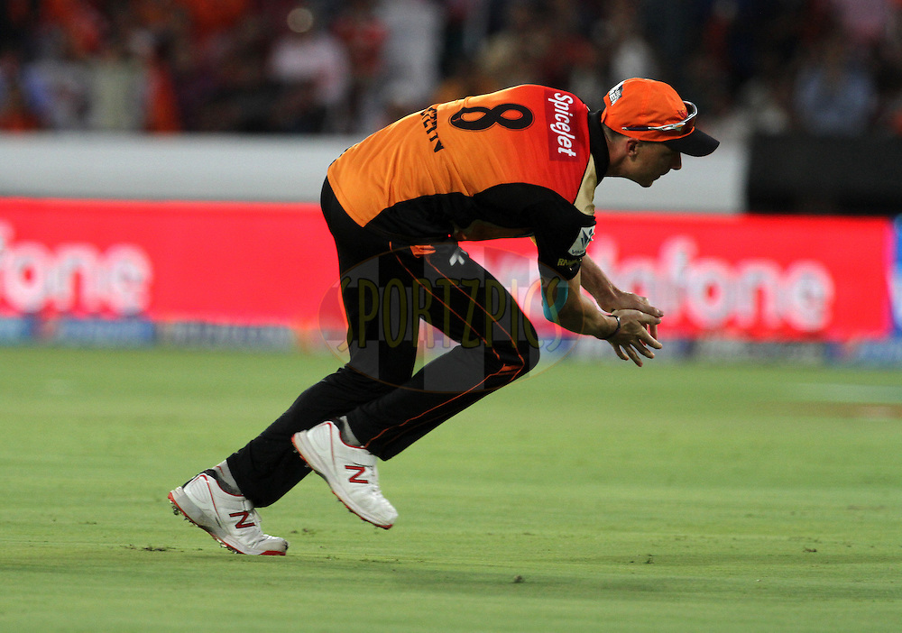 Dale Steyn of the Sunrisers Hyderabad takes the catch of Glenn Maxwell of the Kings X1 Punjab, but was not give out due to a no ball bowled by Amit Mishra of the Sunrisers Hyderabad during match 39 of the Pepsi Indian Premier League Season 2014 between the Sunrisers Hyderabad and the Kings XI Punjab held at the Rajiv Gandhi Cricket Stadium, Hyderabad, India on the 14th May  2014<br /> <br /> Photo by Vipin Pawar / IPL / SPORTZPICS<br /> <br /> <br /> <br /> Image use subject to terms and conditions which can be found here:  http://sportzpics.photoshelter.com/gallery/Pepsi-IPL-Image-terms-and-conditions/G00004VW1IVJ.gB0/C0000TScjhBM6ikg