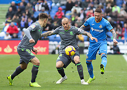 December 15, 2018 - Getafe, Madrid, Spain - Sandro of Real Sociedad and Antunes of Getafe in action during La Liga Spanish championship, , football match between Getafe and Real Sociedad, December 15, in Coliseum Alfonso Perez in Getafe, Madrid, Spain. (Credit Image: © AFP7 via ZUMA Wire)