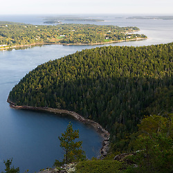 Flying Mountain and the entrance to Somes Sound as seen from Eagle Cliff in Maine's Acadia National Park.  Valley Cove.