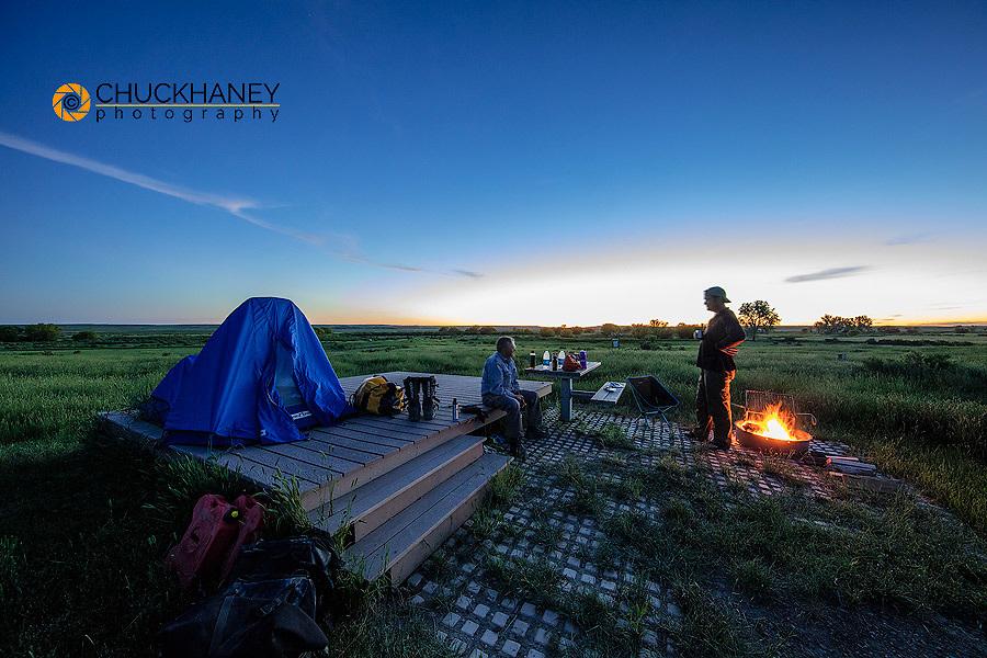 Camping at Buffalo Camp at the American Prairie Reserve near Malta, Montana, USA