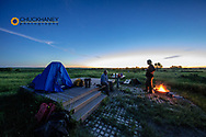 Camping at Buffalo Camp at the American Prairie Reserve near Malta, Montana, USA
