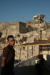 A view of a watch tower above a Palestinian area of the old town of Hebron. From a series of photos commissioned by  British NGO, Medical Aid for Palestinians (MAP).