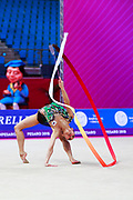 Seo Goeun during the qualification of the ribbon at the Pesaro World Cup 2018. Goeun is a gymnast from the Republic of Korea born in Seoul in 2001.