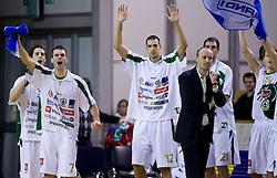 Milorad Sutulovic (5) of Olimpija, Sani Becirovic (7) of Olimpija, Nemanja Aleksandrov (12) of Olimpija and Head coach of Olimpija Jure Zdovc at basketball match of 4th Round of NLB League between KK Union Olimpija and KK Crvena zvezda,  on October 24, 2009, Arena Tivoli, Ljubljana, Slovenia.  Union Olimpija won 94:76.  (Photo by Vid Ponikvar / Sportida)