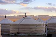 GOBI DESERT, MONGOLIA..08/23/2001.Gers at Juulchin Gobi tourist camp..(Photo by Heimo Aga)