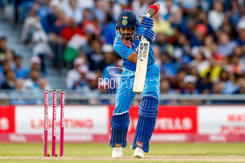 India T20 all rounder KL Lokesh Rahul with a drive during the International T20 match between England and India at Old Trafford, Manchester, England on 3 July 2018. Picture by Simon Davies.