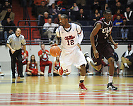 "Ole Miss' Maurice Aniefiok (12) vs. Louisiana Monroe at the C.M. ""Tad"" Smith Coliseum in Oxford, Miss. on Friday, November 11, 2011. Ole Miss won 60-38 in the season opener."