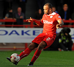 Crawley's Lanre Oyebanjo clears his lines - photo mandatory by-line David Purday JMP- Tel: Mobile 07966 386802 - 11/10/14 - Crawley Town v Peterbourgh United - SPORT - FOOTBALL - Sky Bet Leauge 1  - London - Checkatrade.com Stadium