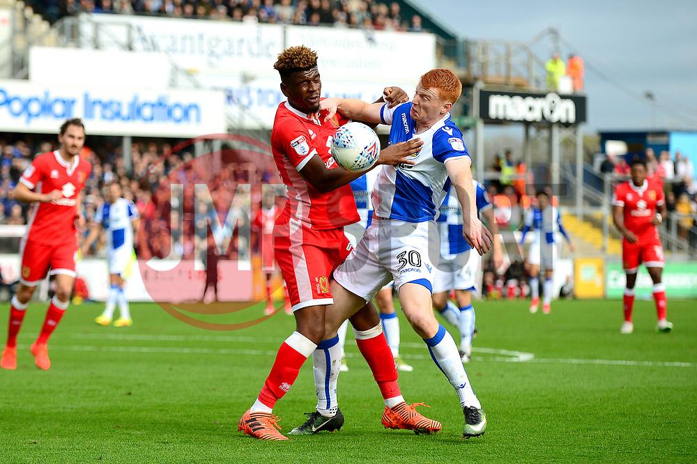 Rory Gaffney of Bristol Rovers jostles for the ball with Aaron Tshibola of Milton Keynes Dons - Mandatory by-line: Dougie Allward/JMP - 28/10/2017 - FOOTBALL - Memorial Stadium - Bristol, England - Bristol Rovers v Milton Keynes Dons - Sky Bet League One
