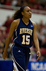 March 20, 2010; Stanford, CA, USA; UC Riverside Highlanders guard/forward Brittany Waddell (15) during the first half against the Stanford Cardinal in the first round of the 2010 NCAA womens basketball tournament at Maples Pavilion. Stanford defeated UC Riverside 79-47.
