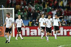 07-07-2010 VOETBAL: FIFA WORLDCUP 2010 SPANJE - DUITSLAND: DURBAN<br /> Halve finale WC 2010 - Spanje wint met 1-0 van Duitsland /  Die deutschen Spieler nach dem 0:1 Tor - Toni Kroos ( Bayern Leverkusen #18 ) Bastian Schweinsteiger ( FC Bayern Muenchen #07 ) Arne Friedrich ( Hertha BSC #03 ) Miroslav Klose ( FC Bayern Muenchen #11 ) Sami Khedira ( VFB Stuttgart #06 )<br /> ©2010-FRH- NPH/ Kokenge (Netherlands only)