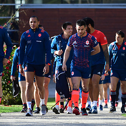 (L-R) Julien Le Devedec, Gael Fickou and Brice Dulin of France  arrive for the training session of  the France rugby team at Centre National de Rugby on March 14, 2017 in Marcoussis, France. (Photo by Dave Winter/Icon Sport)