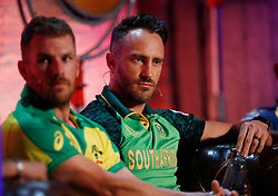 South Africa's Faf du Plessis and Australia's Aaron Finch (left) during the Cricket World Cup captain's launch event at The Film Shed, London.