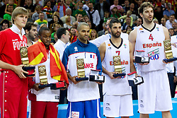 Best players of the tournament Andrei Kirilenko of Russia, Bo McCalebb of Macedonia, Tony Parker of France, Juan Carlos Navarro of Spain and Pau Gasol of Spain at medal ceremony after the final basketball game between National basketball teams of Spain and France at FIBA Europe Eurobasket Lithuania 2011, on September 18, 2011, in Arena Zalgirio, Kaunas, Lithuania. Spain defeated France 98-85 and became European Champion 2011. (Photo by Vid Ponikvar / Sportida)