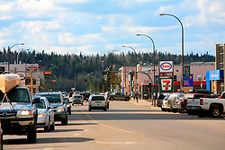 CANADA ALBERTA FORT MCMURRAY 12MAY07 - General view of downtown Fort McMurray, a fast-growing boomtown due to the high demand in labour in the tar sands operations...The Alberta Tar Sands are the largest deposits of their kind in the world and their production is the single largest contributor to Canada's greenhouse gas emissions...Alberta's tar sands are currently estimated to contain a crude bitumen resource of 315 billion barrels, with remaining established reserves of almost 174 billion barrels, thus making Canada's oil resources ranked second largest in the world in terms of size...The industry has brought wealth and an economic boom to the region but also created an environmental disaster downstream from the Athabasca river, polluting the lakes where water and fish are contaminated. The native Indian tribes of the Mikisew, Cree, Dene and other smaller First Nations are seeing their natural habitat destroyed and are largely powerless to stop or slow down the rapid expansion of the oil sands development, Canada's number one economic driver...jre/Photo by Jiri Rezac / WWF-UK..© Jiri Rezac 2007..Contact: +44 (0) 7050 110 417.Mobile: +44 (0) 7801 337 683.Office: +44 (0) 20 8968 9635..Email: jiri@jirirezac.com.Web: www.jirirezac.com..© All images Jiri Rezac 2007 - All rights reserved.
