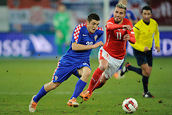 05.03.2014, AFG Arena, St. Gallen, SUI, Testspiel, Schweiz vs Kroatien, im Bild Mateo Kovacic (CRO) gegen Valon Behrami (SUI) // during the International Friendly match between Switzerland and Croatia at the AFG Arena in St. Gallen, Switzerland on 2014/03/05. EXPA Pictures © 2014, PhotoCredit: EXPA/ Freshfocus/ Andy Mueller<br /> <br /> *****ATTENTION - for AUT, SLO, CRO, SRB, BIH, MAZ only*****