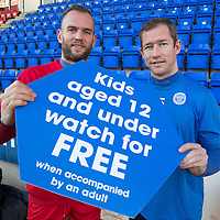 Alan Mannus and Frazer Wright promoting the kids under 12 free promotion at St Johnstone<br /> Picture by Graeme Hart.<br /> Copyright Perthshire Picture Agency<br /> Tel: 01738 623350  Mobile: 07990 594431