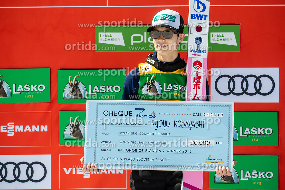 Winner Ryoyu Kobayashi (JPN) celebrates at trophy ceremony as a best athlete at 7 flights in Planica after the Ski Flying Hill Individual Competition at Day 4 of FIS Ski Jumping World Cup Final 2019, on March 24, 2019 in Planica, Slovenia. Photo by Vid Ponikvar / Sportida