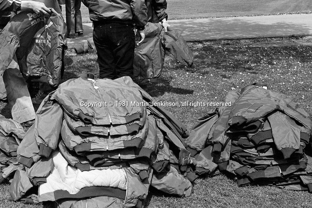 New jackets, People's  March for Jobs, Yorkshire and Liverpool to London. Stotfold to Letchworth 24/05/1981